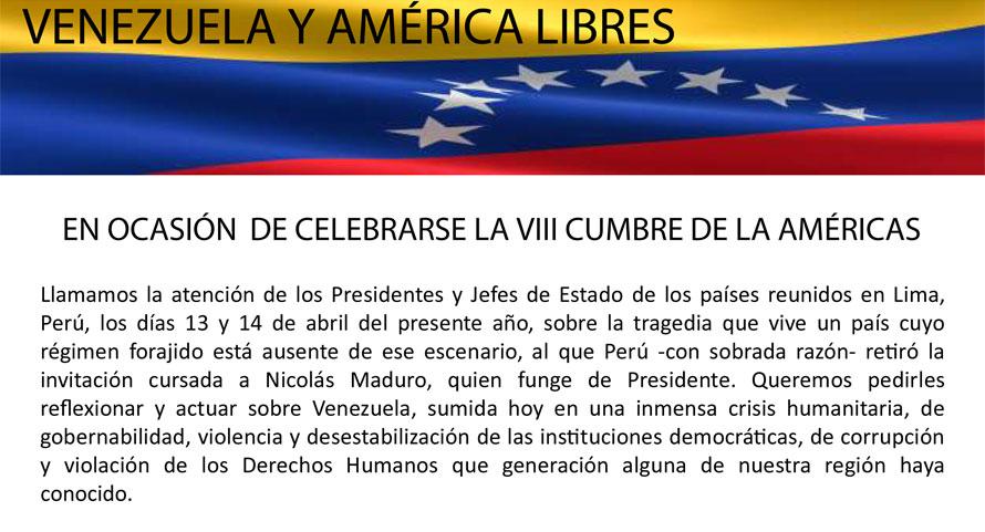 La Diáspora Venezolana Exige Acción A La Cumbre De Lima