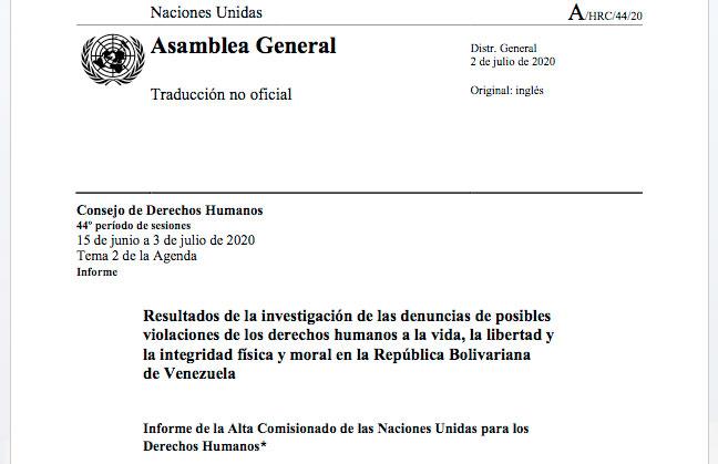 Informe de la Alta Comisionado de las Naciones Unidas para los Derechos Humanos, Michelle Bachelet